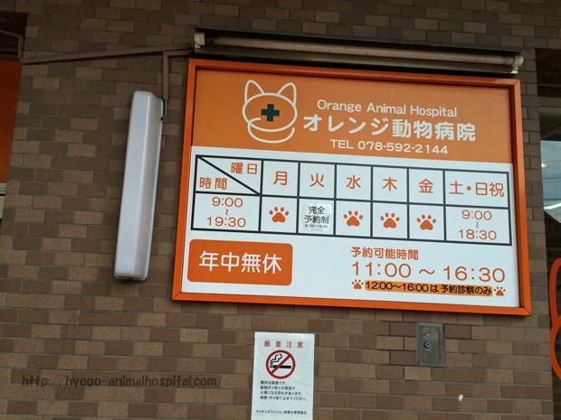 オレンジ動物病院の診療時間
