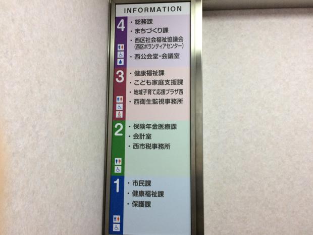 西区役所のエレベーター内