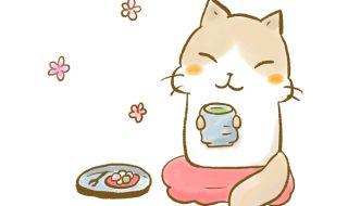 猫 お茶を飲む